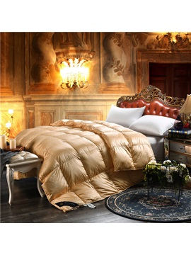 Solid Golden Royal Style Down Feather Super Soft Thick Winter Quilts Comforters