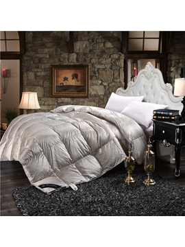 Solid Sliver Luxury Style Down Feather Super Soft Thick Winter Quilts Comforters