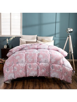 Flower Blooming Pattern Pastoral Style Fresh Purple Feather Fabric Winter Quilt