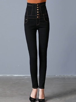 Skinny Thick Denim Button Womens Pencil Pants