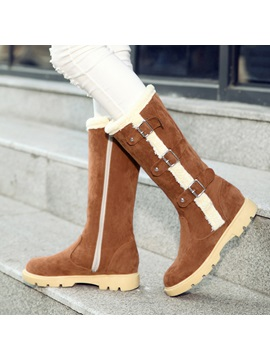 Faux Suede Buckle Side Zipper Womens Knee High Boots
