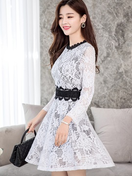 Patchwork Nine Points Sleeve Womens Lace Skater Dress