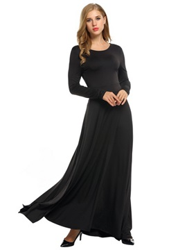 Plain Long Sleeve Lace Up Womens Maxi Dress