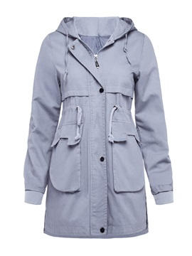 Hooded Long Sleeve Mid Length Plain Zipper Trench Coat