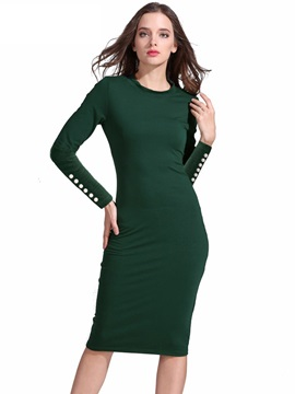 Solid Color Long Sleeve Bead Womens Bodycon Dress