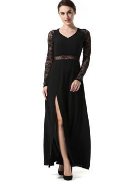 Black Lace Patchwork Long Sleeve Womens Maxi Dress