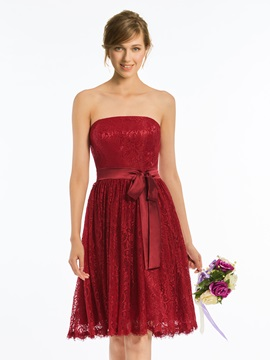 Strapless A Line Sashes Lace Bridesmaid Dress