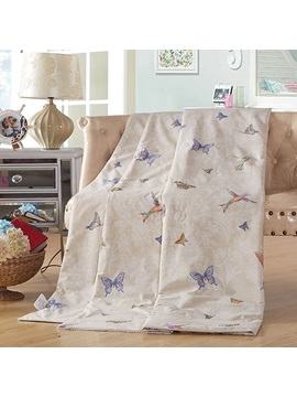 New Arrival Bird And Butterfly Printed Cotton Air Conditional Quilt