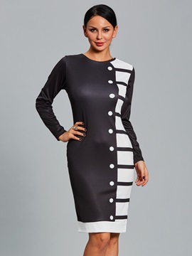 Color Block Button Long Sleeve Womens Bodycon Dress
