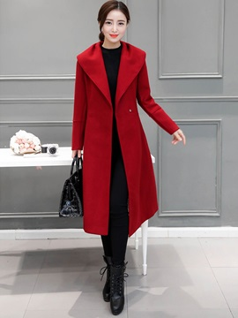 Long Sleeve Plain Winter Womens Trench Coat
