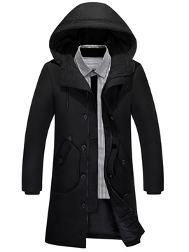 Tidebuy Hooded Solid Color Mid Length Mens Trench Coat