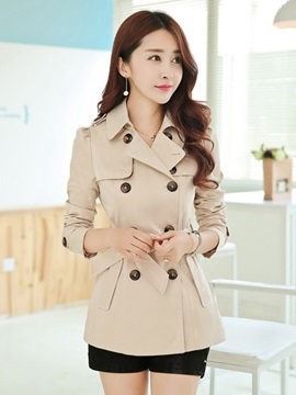 Long Sleeve Lapel Plain Slim Trench Coat