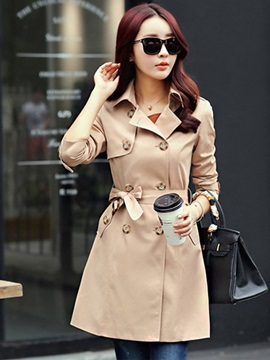 Lapel Long Sleeve Slim Trench Coat