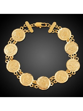 Copper Decorated 18k Gold Plated Charm Bracelet