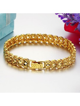 Hollow 18k Golden Ethnic E Plating Mens Bracelet