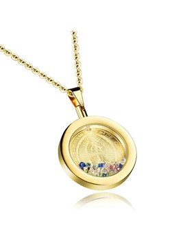Womens Colorful Diamond Round Pendant Necklace
