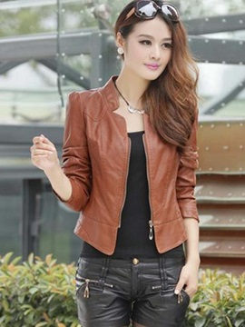 Short Stand Collar Pu Womens Jacket