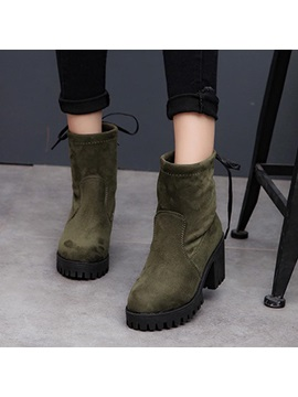 Faux Suede Lace Up Back Chunky Heel Boots For Women