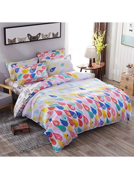 Wannaus Multicolor Water Drops Prints Polyester 4 Piece Bedding Sets Duvet Covers