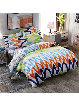 Wannaus Multicolor Racked Pattern Classic Style Polyester 4 Piece Neutral Bedding Sets