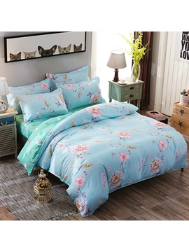 Wannaus Pink Peonies And Butterfly Prints Polyester 4 Piece Blue Bedding Sets Duvet Covers