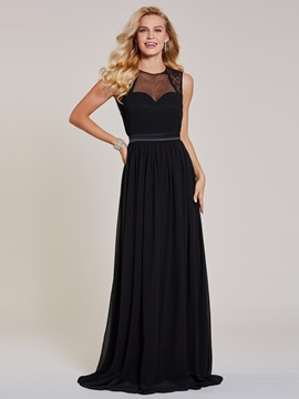 Scoop Neck Backless A Line Evening Dress