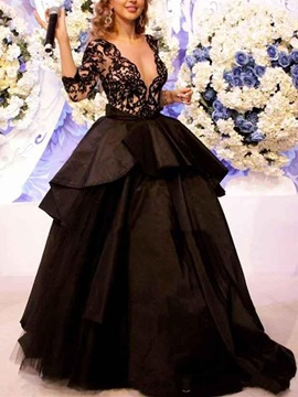 Lace Ball Gown Pick Ups Sweep Train Evening Dress