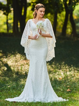 Amazing V Neck Sleeves Mermaid Lace Wedding Dress