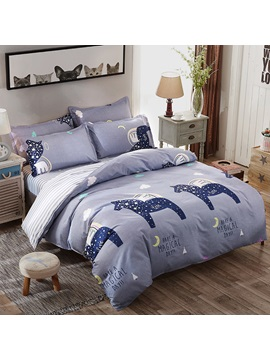 Wannaus Dark Blue Starry Horse Prints Polyester 4 Piece Bedding Sets Duvet Cover