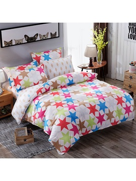 Wannaus Colorful Hexagram Prints Simple Style Polyester 4 Piece Bedding Sets Duvet Covers