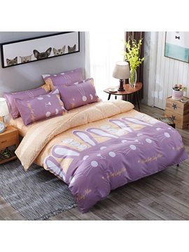 Wannaus Purple Rabbits Prints Polyester 4 Piece Girls Bedding Sets Duvet Cover