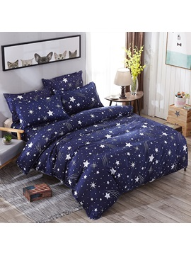 Wannaus Dark Blue Starry Galaxy Prints Polyester 4 Piece Bedding Sets Duvet Cover