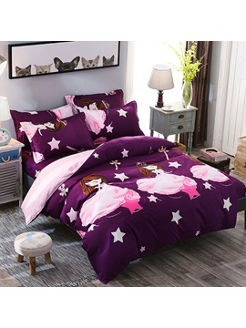 Wannaus Pink Sweet Princess Prints Polyester 4 Piece Purple Bedding Sets Duvet Cover