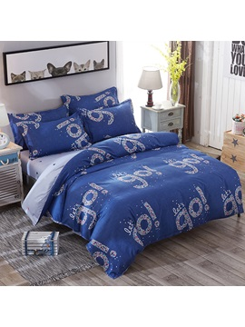 Wannaus Shining Lets Go Prints Polyester 4 Piece Dark Blue Bedding Sets Duvet Covers
