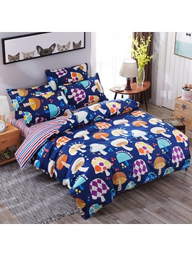Wannaus Multicolor Mushrooms Prints Polyester 4 Piece Dark Blue Bedding Sets Duvet Cover