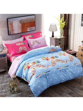 Wannaus Flowers Mustaches Prints Polyester 4 Piece Light Blue Bedding Sets Duvet Covers