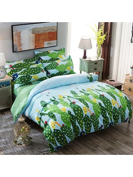 Wannaus Green Cactus And Dandelion Printed Polyester Duvet Covers Bedding Set
