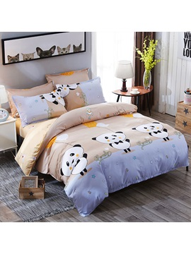 Wannaus Blue Light Brown Contrast Panda Prints Polyester 4 Piece Bedding Sets Duvet Covers
