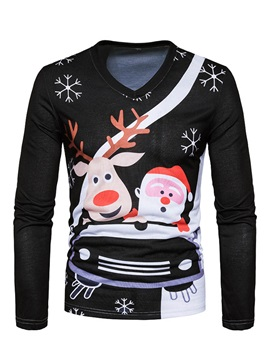 Tidebuy Chrismas Theme Cartoon Print V Neck Mens T Shirt