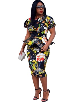Double Layer Floral Print Falbala Womens Bodycon Dress