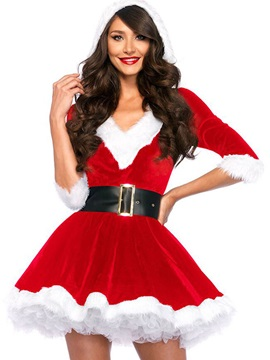 Santa Costume Christmas Party Hooded Womens Skater Dress