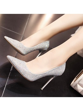 Glitter Rhinestone Pointed Toe Classic Pumps