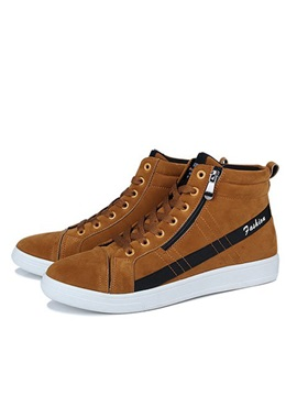 Faux Suede Lace Up High Cut Upper Mens Shoes