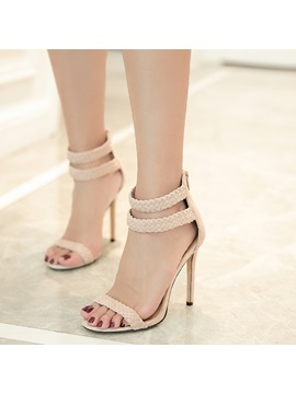 Nubuck Leather Heel Covering Open Toe Stiletto Sandals