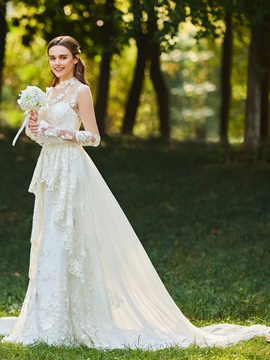 High Neck Appliques Long Sleeve Wedding Dress