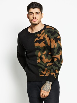 Tidebuy Round Neck Patchwork Camouflage Knit Mens Sweater