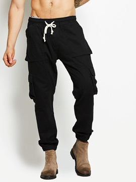 Tidebuy Lace Up Solid Color Mens Casual Pants