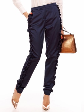 Slim Plain Gathering Womens Casual Pants