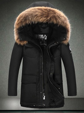 Faux Fur Hooded Mens Down Coat