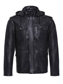 Stand Collar Hooded Pu Mens Jacket